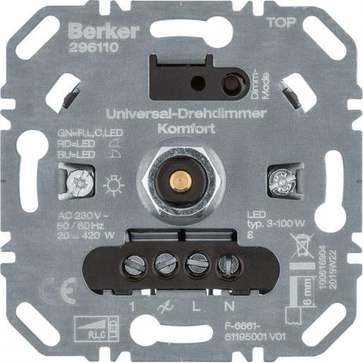 Berker dimmer universeel 420W soft klik comfort 296110