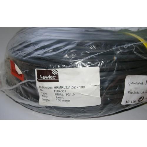 Newlec rubberkabel 3x1.5mm² zwart