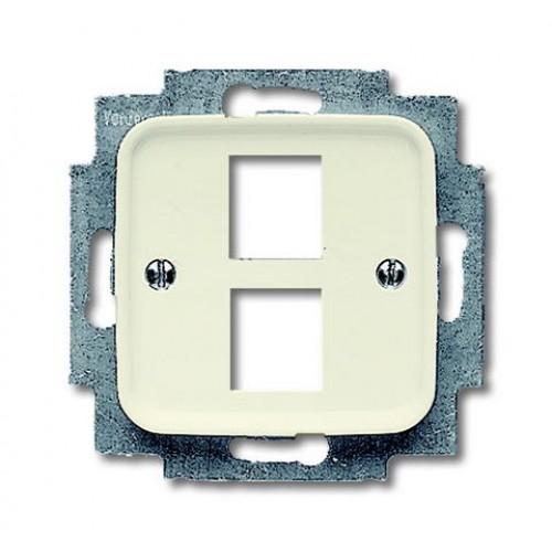 Data centraalplaat tbv 2xRJ45 connector wit(creme)