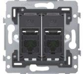 Niko 2v RJ45 cat.6 data wandcontactdoos inbouw,