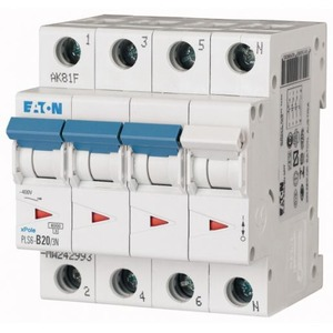 Eaton automaat PLS6-B20/3N-MW , B 20A , 4 Polig incl. NUL , 6 kA