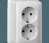 Gira-2-v-wandcontactdoos-randaarde-opbouw-met-montageplaat-zuiver-wit-glanzend-nieuw-aangepast