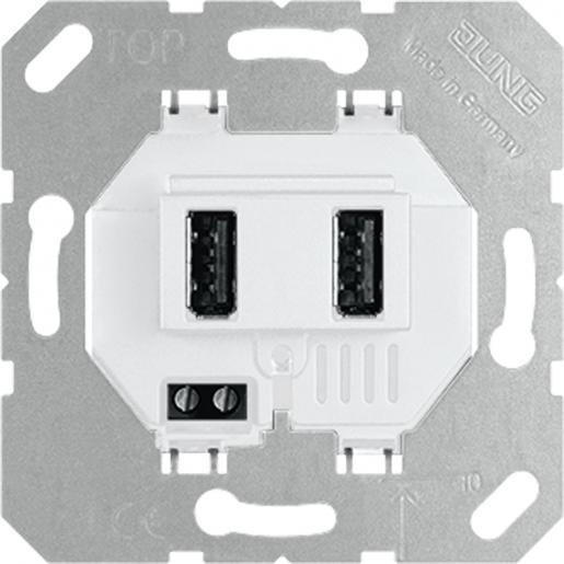 Jung USB21-2WW dubbele USB wandcontactdoos