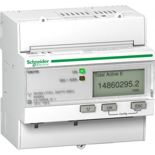 Schneider Electric IEM3100 3fase KWH meter 63A