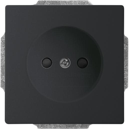 1-voudige wandcontactdoos met kinderbeveiliging zwart mat