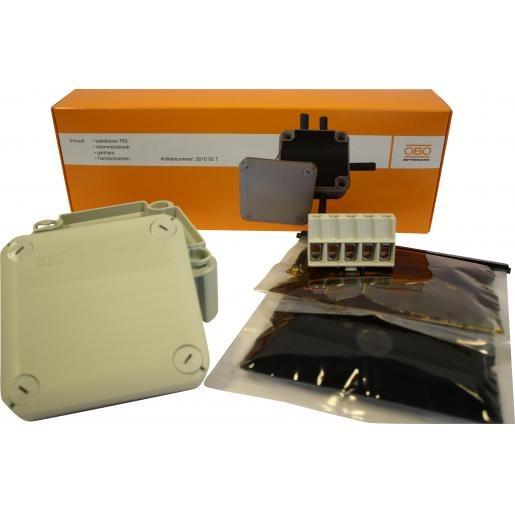Deze set is uitermate geschikt voor waterdichte verbindingen en bestaat uit: giethars, kabeldoos T60, klemmenstrook (5-voudig) en handschoenen.