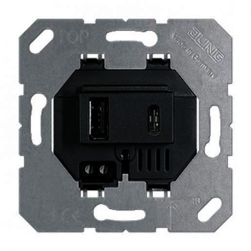 Jung USB-laadcontactdoos met 1 x USB poort type A en 1 x USB type USB15CASW