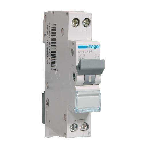 Hager MHN Installatieautomaat B karakteristiek 16A 2p 1 beveiligd incl nul 1TE MHN516