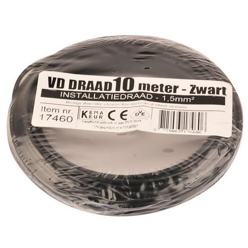 VD draad 1.5mm2 zwart op ring 10mtr