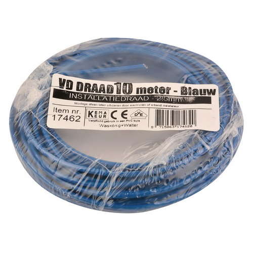 VD draad 2.5mm2 blauw op ring 10mtr