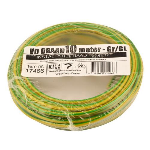 VD draad 2.5mm2 geel/groen op ring 10mtr